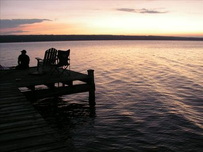 Ithaca cottage rental - Relaxing on the Dock at Sunset!