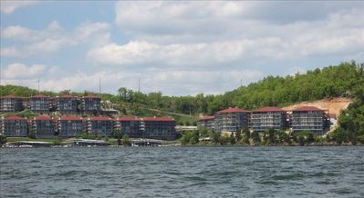 View of complex from lake (my unit is in the last building on right, lakefront)