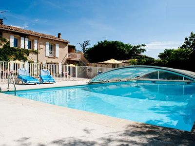 St-Saturnin-les-Avignon apartment rental - Pool cover keeps the pool warm (and safe deep end)