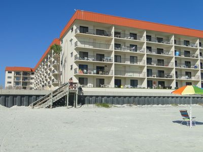 View from beach of Hacienda del Sol II (our unit is 2nd back on ground floor)