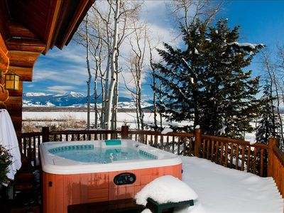 Entry level deck with all season hot tub