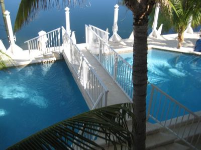 Sky View Of Pool with Dividing Bridge