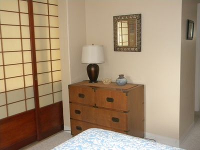 Bedroom with Shoji doors, dresser