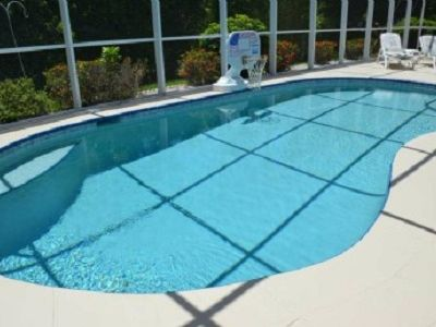 Large Pool with Basketball Hoop.