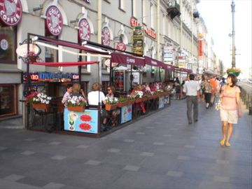 Out on Nevsky Prospect in Front of the Apartment, Super Street full of restauran