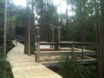 Secluded swings, benches and boardwalks