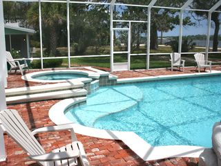Daytona Beach house photo - Pool with shallow area and Jacuzzi.