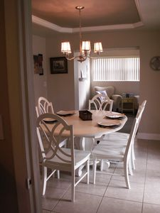 Indian Rocks Beach house rental - View from dining room into reading nook (we have books & DVDs at the house)