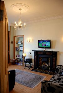 Edinburgh apartment rental - Living Room with 2 comfy couches and a chaise longue. TV, DVD, DVD's, and Wi-Fi