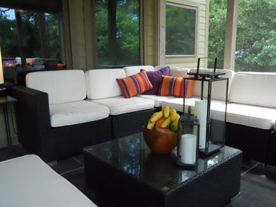 Screened in Porch Can Seat up to Ten Comfortably.  Great for Entertaining.