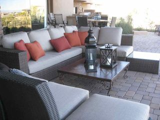 Fountain Hills house photo - Patio sofas that can be rearranged; 2 bar tables in behind.