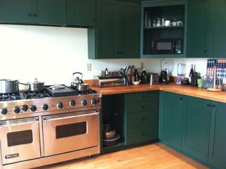 Renovated kitchen with a Viking stove, dishwasher, and microwave oven.