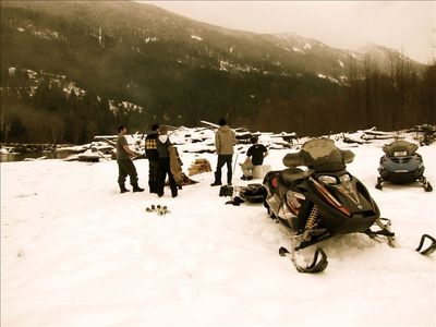 Snowmobiling / campfire on the Lillooet river