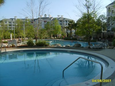 Our round pool and lagoon pool in background, also kiddie and hot tub!