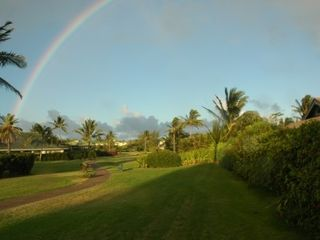 Poipu house photo - Rainbow over Greenbelt - the walkway to 3 different beaches!