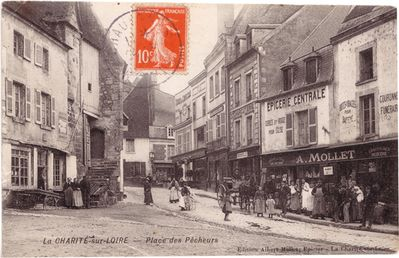 Old photo postcard of street view in La Charité-sur-Loire taken early 1900s.