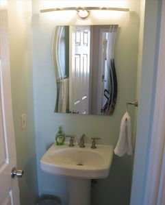 Guest Bathroom with Kholer Fixtures and Designer Mirror