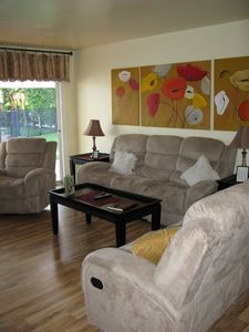 Reclining sofa. loveseat and chair