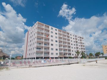 condo building from beach