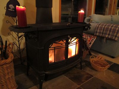 Wood stove gets warm!
