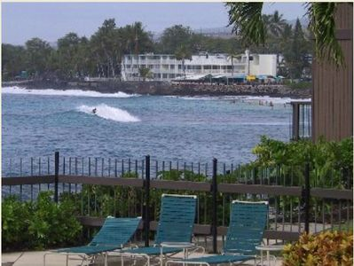 Kailua Kona house rental - The surf is up! -- as seen from our pool deck