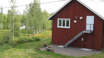 Modern holiday home near Vimmerby, idyllic nature at the forest lake, lake view, rowboat