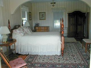 Deer Isle house photo - This large first floor bedroom is seen here from doors to the deck.