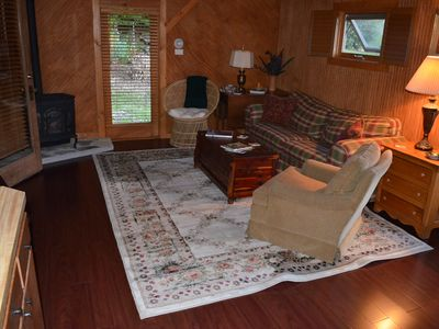 The new cherry floor in the Creekside Cabin