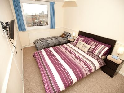 Bedroom with Double Bed & Single Bed + TV