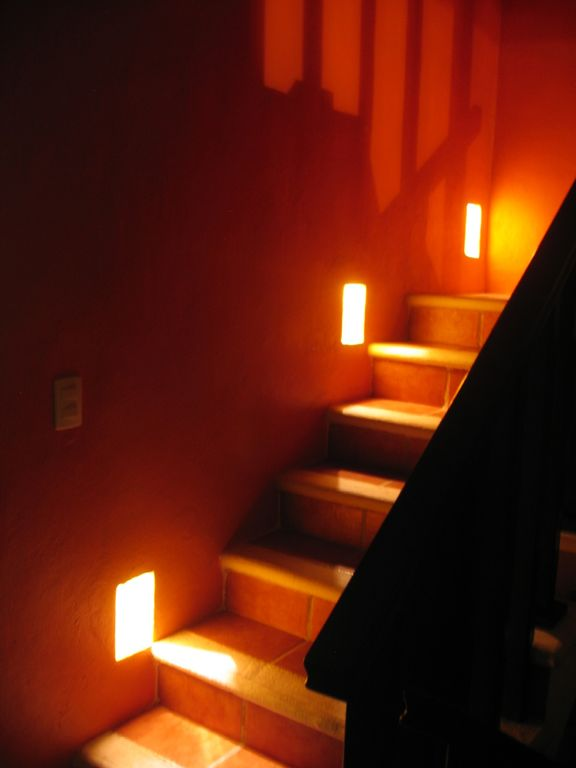 Lighted stairs to Roof terrace