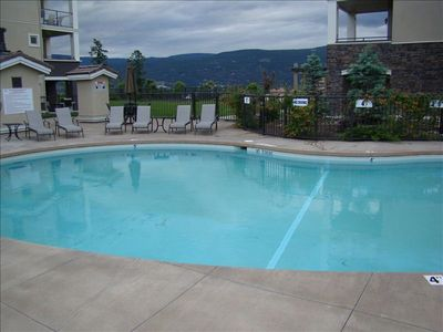 Pool with hot tub, Fitness area with treadmill,weights and elliptical.