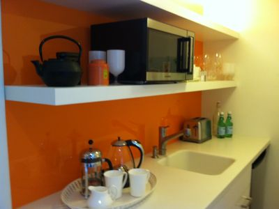 A tidy kitchenette to help you wake up and keep you going through the day