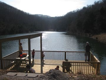 Relax and fish off the dock at Notch's 5 acre lake! No license required