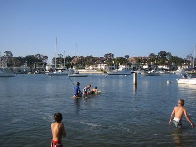 Kids having fun playing in the bay