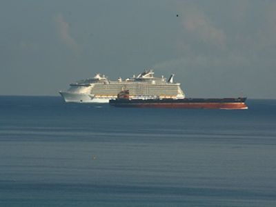Cruise Ship and Cargo Ship as Seen From Deck