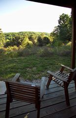 Branson cabin photo - Enjoy the wooded view off the back lower deck