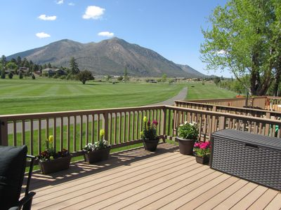 View from deck of 9th hole and Mt. Elden