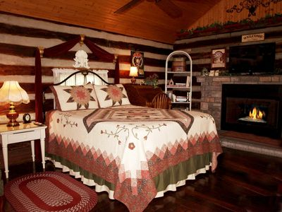 Queen Bed by Fireplace