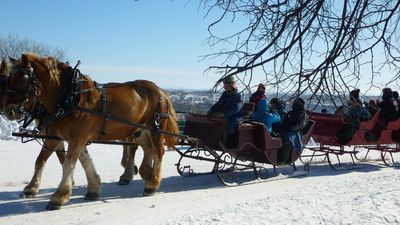 Sleigh-rides along the river are possible if you visit Québec in winter.
