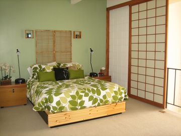 Loft style Master Bedroom with Queen size bed and Shoji screen enclosures