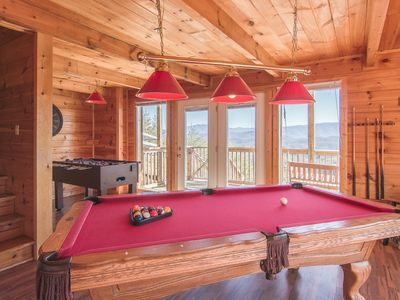 Large Game room, with private deck and swing overlooking mountains