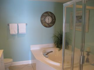 Orange Beach condo photo - Master Bath with Jucuzzi and Huge Shower & Oversized Showerhead!