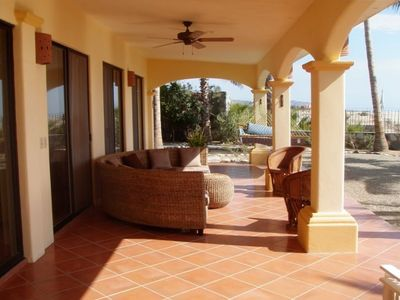 Los Barriles villa rental - The front veranda at Casa de Las Palmas - to sit, sip, and enjoy the sea & beach