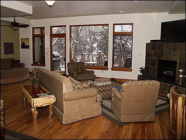 Living Area - Gas Fireplace, Large TV, 2 Sleeper Sofas