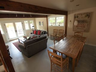 Pacific Grove house photo - Dining area and family room off the kitchen. Old farm table seats 10.
