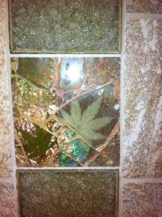 Beautiful custom glass tile in the bathroom