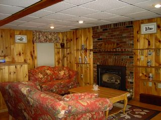 Acton chalet photo - Cozy family room with gas fireplace for cool evenings