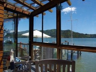 Tiburon house photo - Angel Island from glassed-in Sunroom