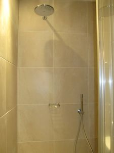 Large Rain Shower, hand shower head, glass door