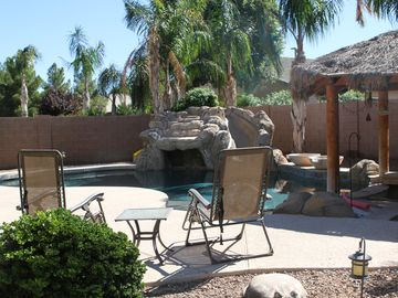 Gilbert house rental - rock waterfall/slide swim up tiki bar